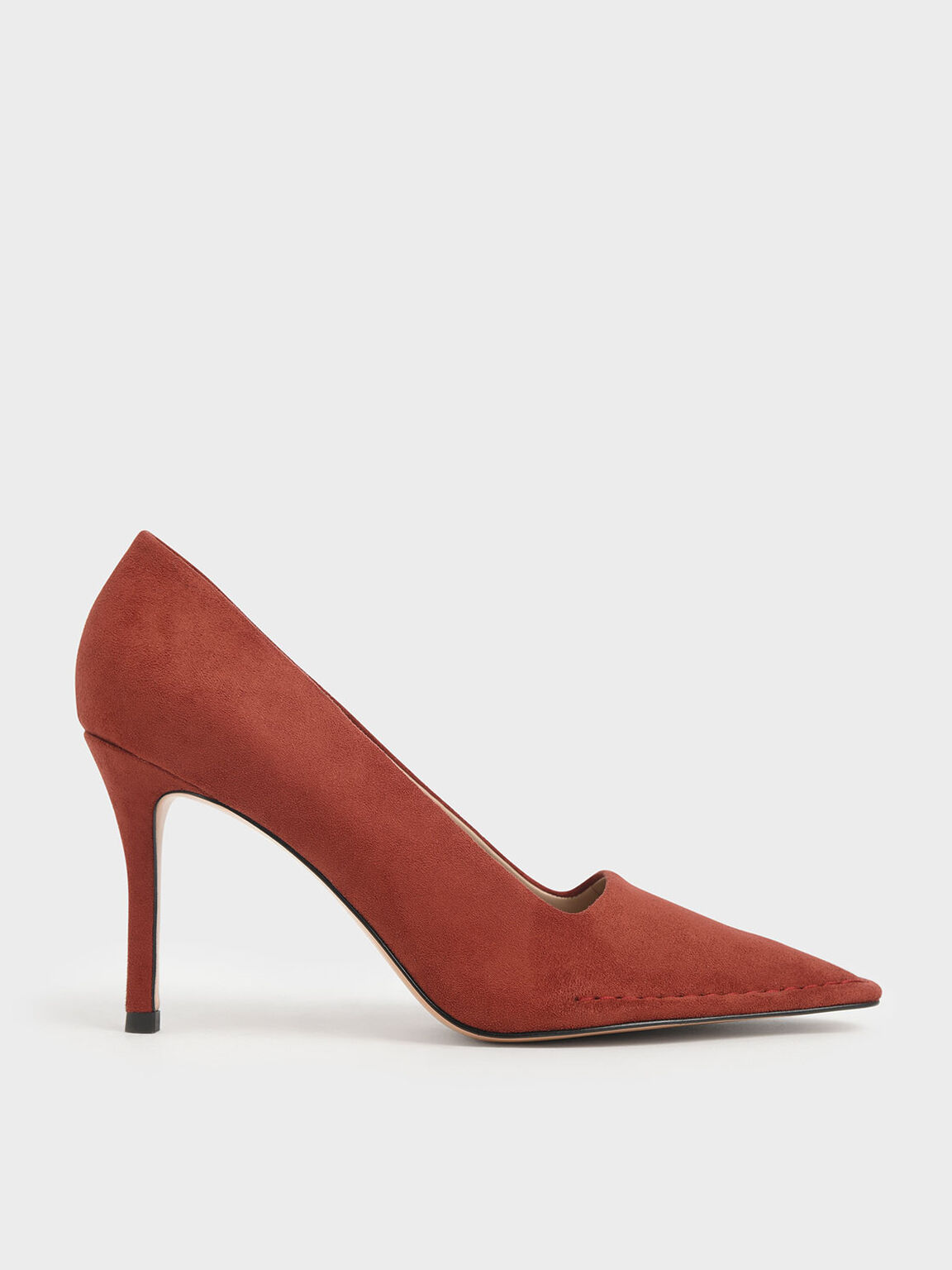 Stitch Trim Textured Stiletto Pumps, Red, hi-res