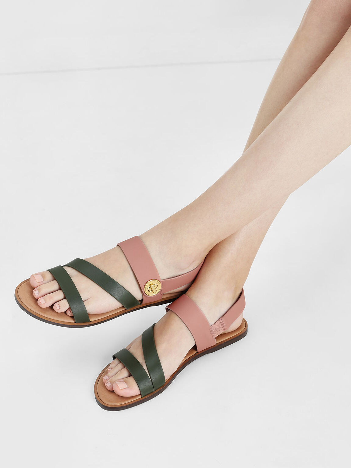 Asymmetrical Strappy Sandals, Olive, hi-res