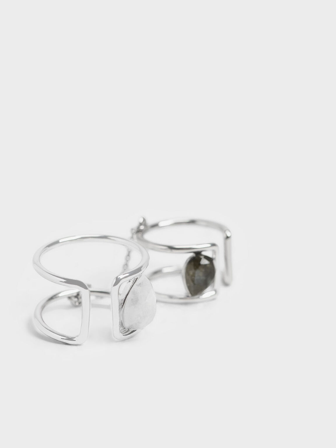 Moonstone Double Ring, Silver, hi-res