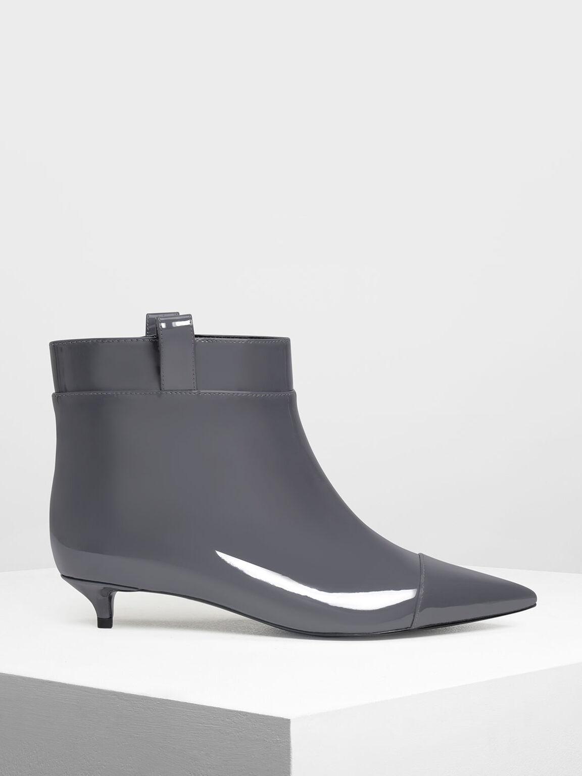 Pointed Kitten Heel Boots, Grey, hi-res