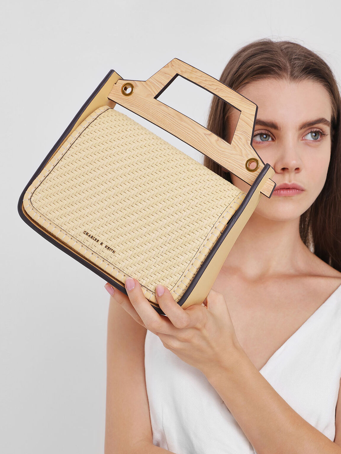 Woven Wood-Effect Top Handle Bag, Yellow, hi-res