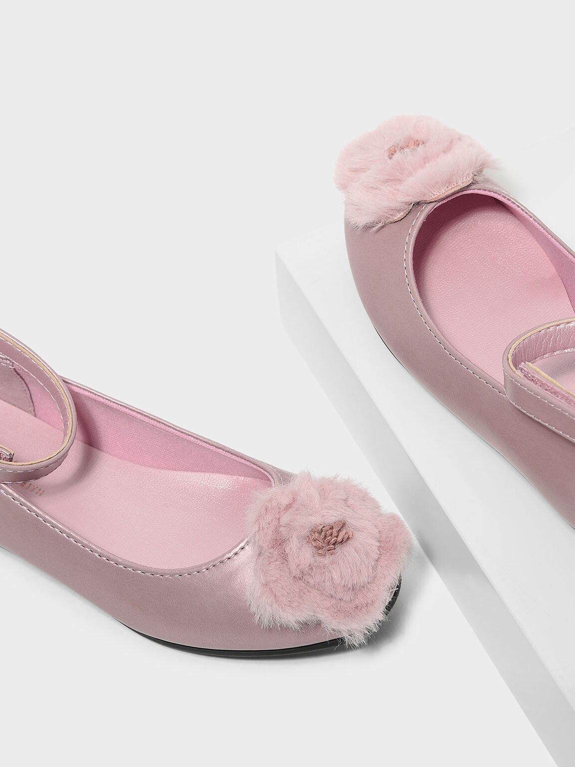 Kids Furry Floral Flats, Rose Gold, hi-res