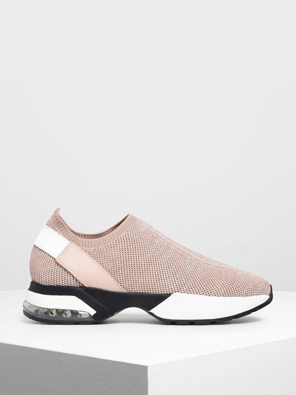 Knitted Sock Slip-On Sneakers, Pink, hi-res
