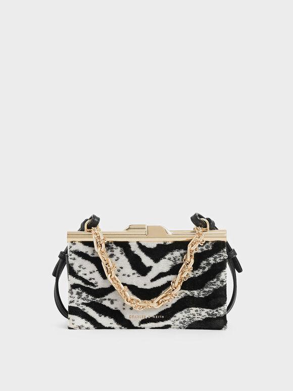 Boxy Velvet White Tiger Print Chunky Chain Clutch, Multi, hi-res