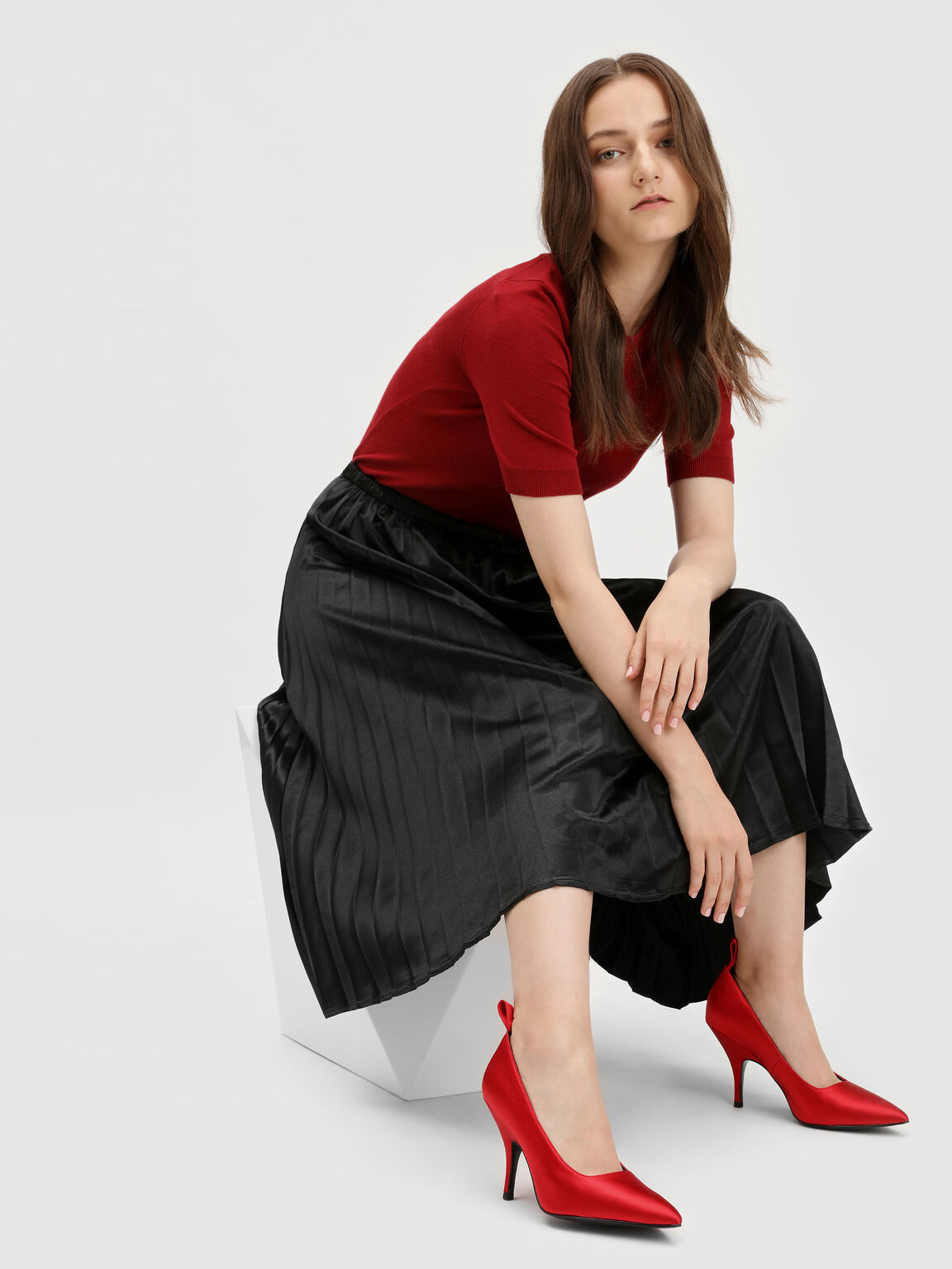 Scarf Bow Satin Pumps, Red, hi-res