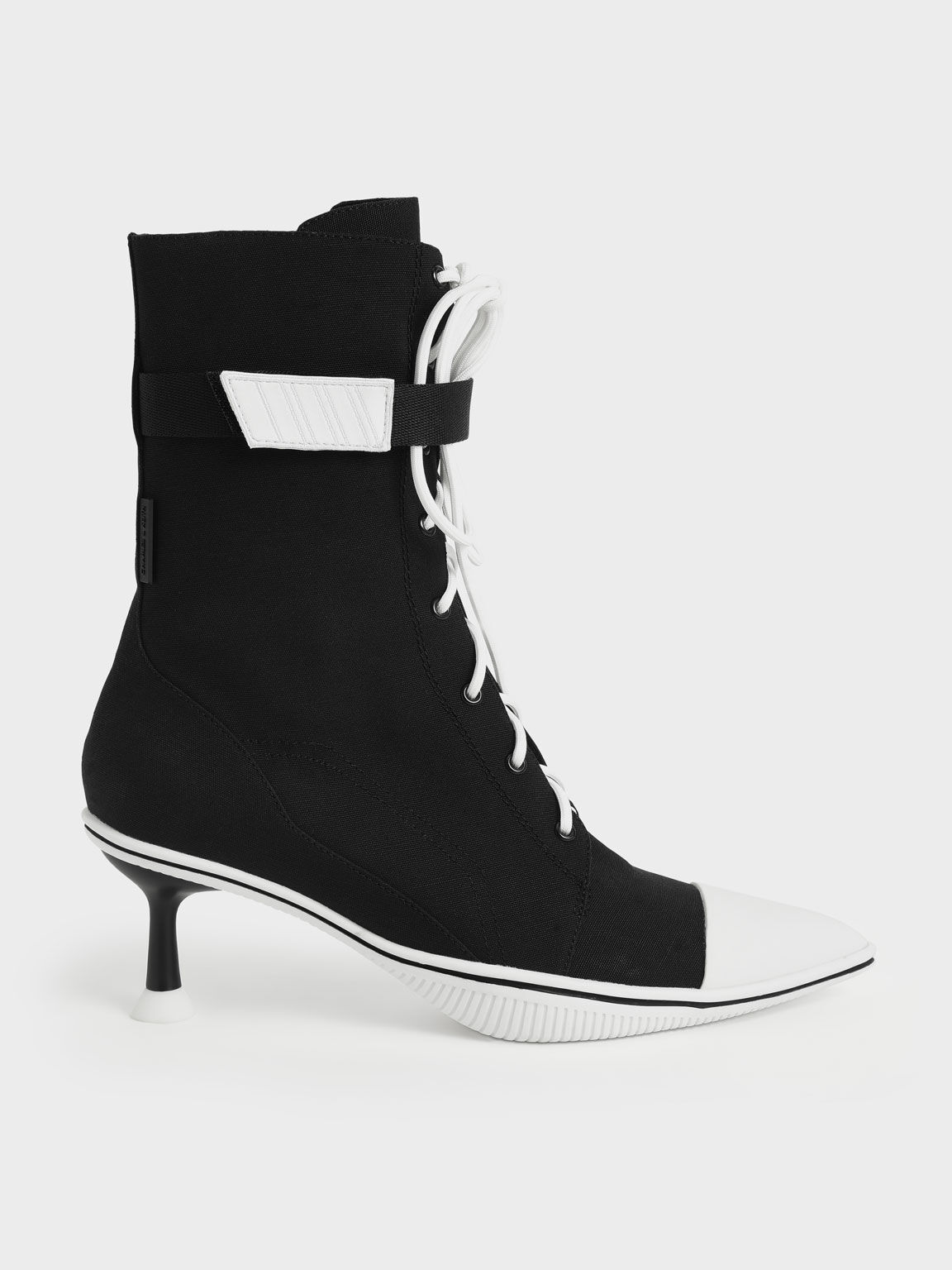 Recycled Cotton Lace-Up Ankle Boots, Black, hi-res