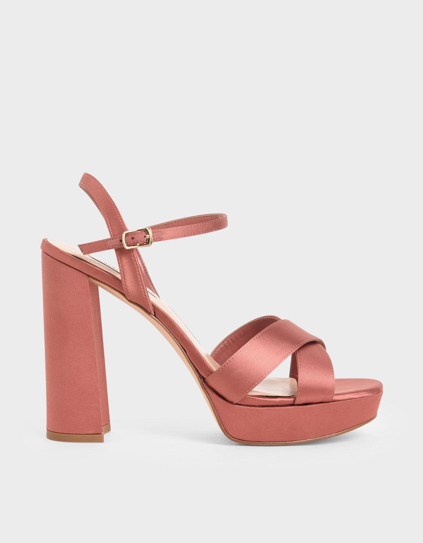 Pink Satin Platform Heels | CHARLES