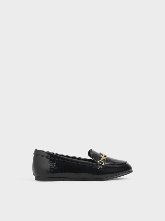 Girls' Wrinkled Patent Charm Loafers, Black, hi-res