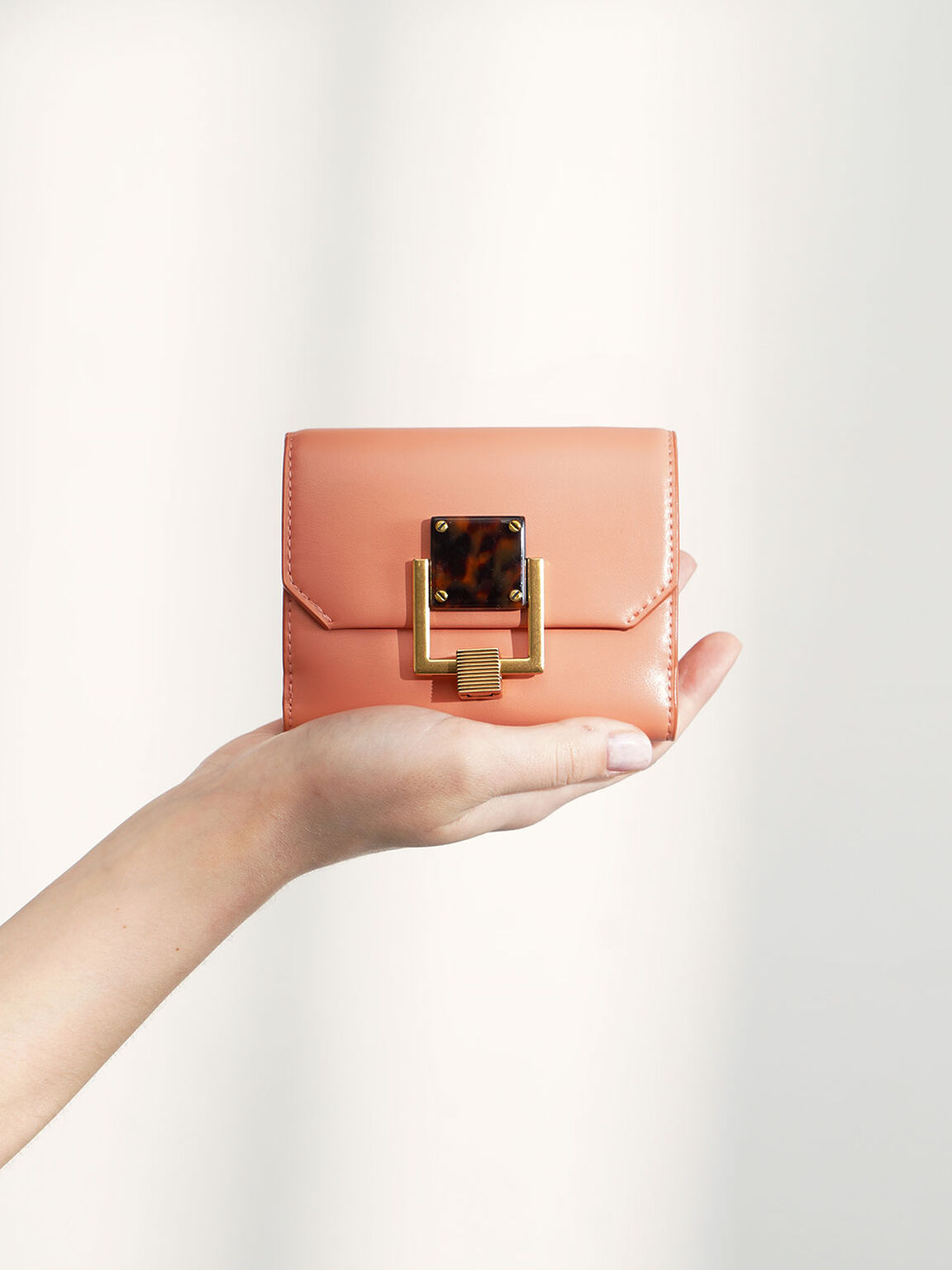 Metallic Accent Mini Wallet, Peach, hi-res