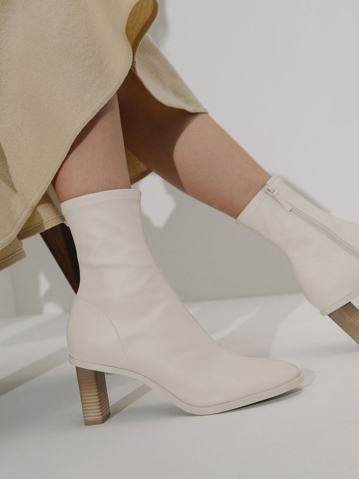Side-Zip Ankle Boots, White, hi-res