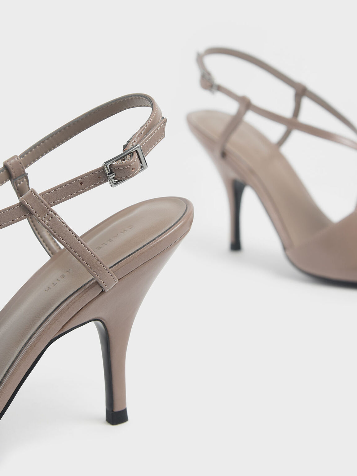 Criss Cross Strappy Pointed Toe Heels, Taupe, hi-res