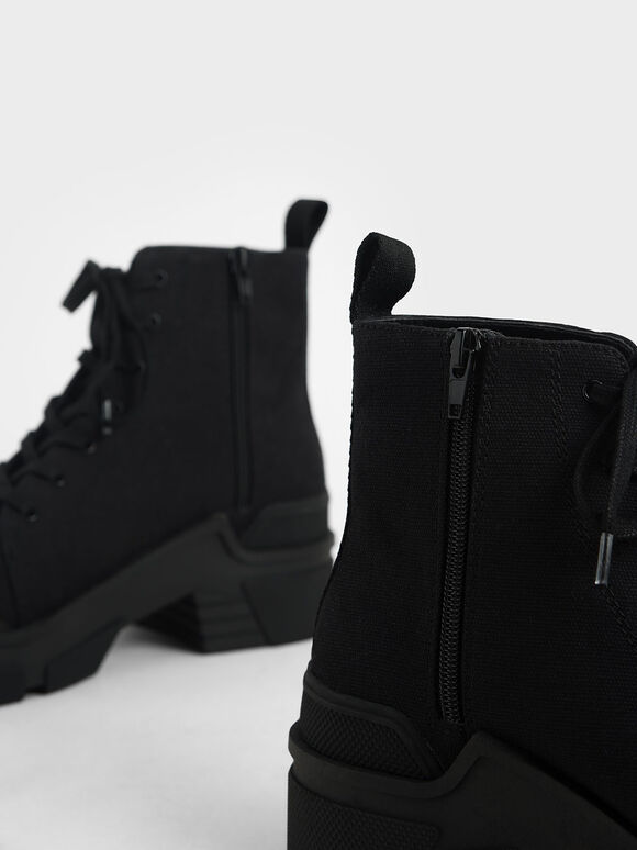 Canvas High Top Sneakers, Black, hi-res