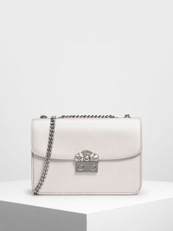 Embellished Push Lock Clutch, Pearl, hi-res