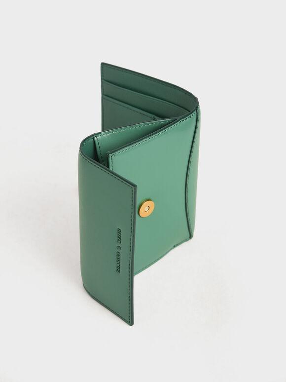 Snap Button Mini Short Wallet, Green, hi-res