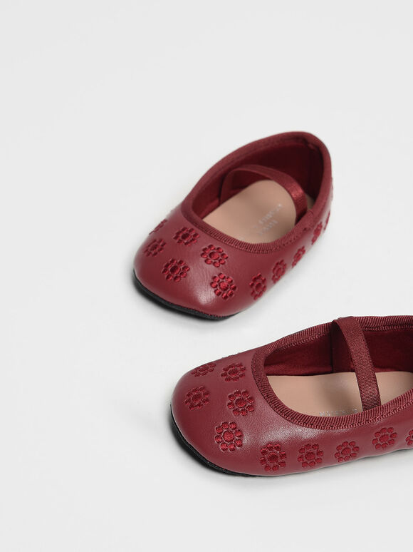 Kids Floral Embroidery Mary Janes, Red, hi-res