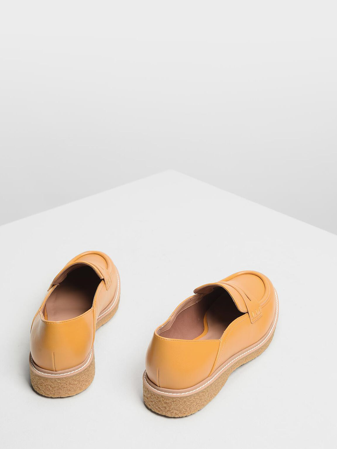 Curved Edge Penny Loafers, Mustard, hi-res