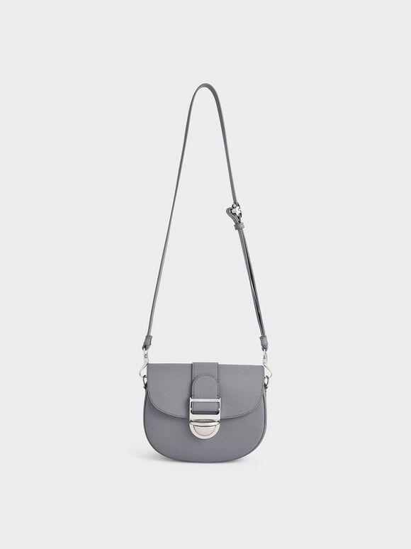 Amelia Metallic Push-Lock Crossbody Bag, Dark Grey, hi-res