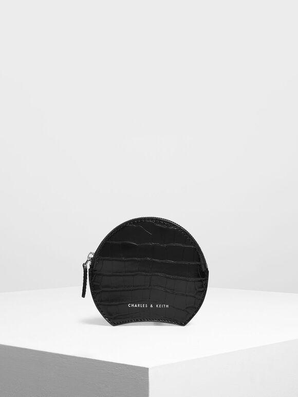 Semi Circle Croc-Effect Mini Pouch, Black, hi-res