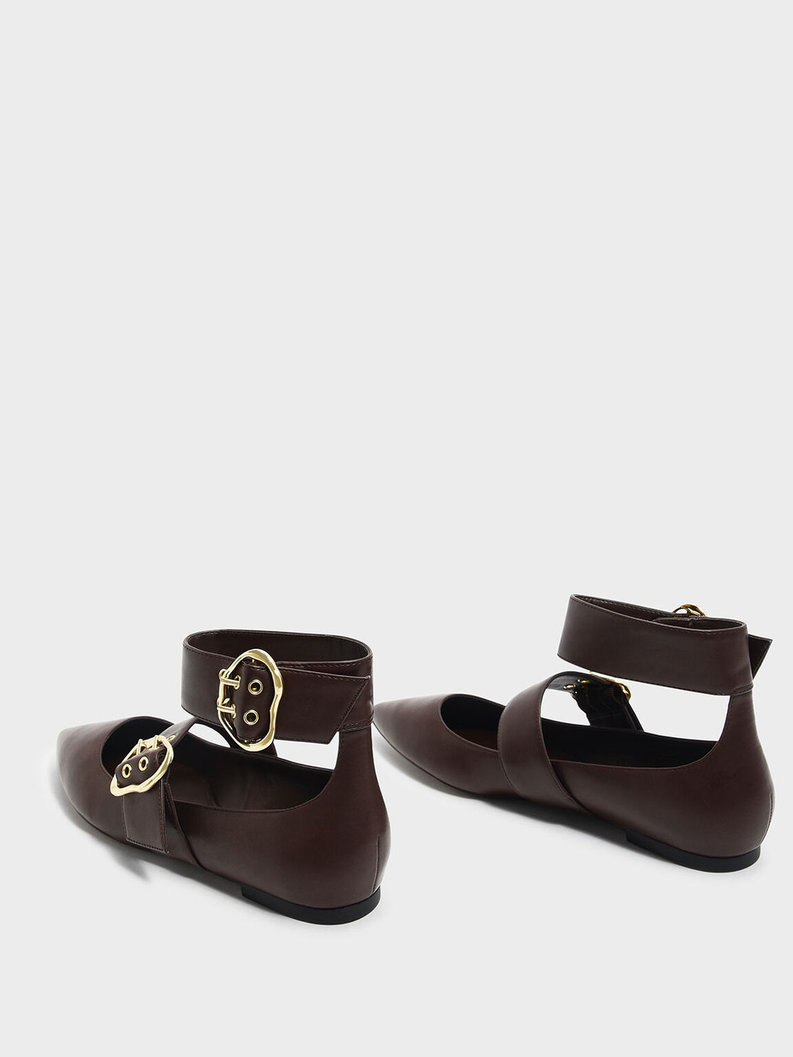 Ankle Strap Mary Jane Flats, Dark Brown, hi-res