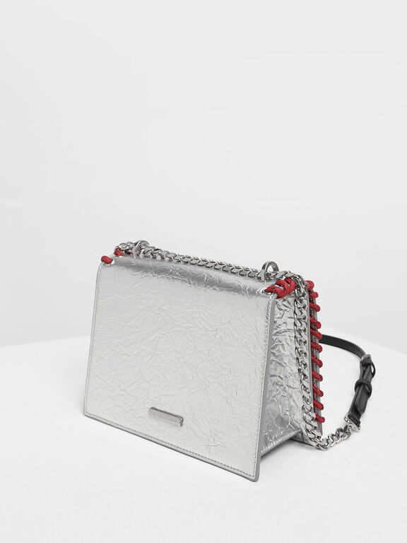 Grommet Accented Crossbody Bag, Silver
