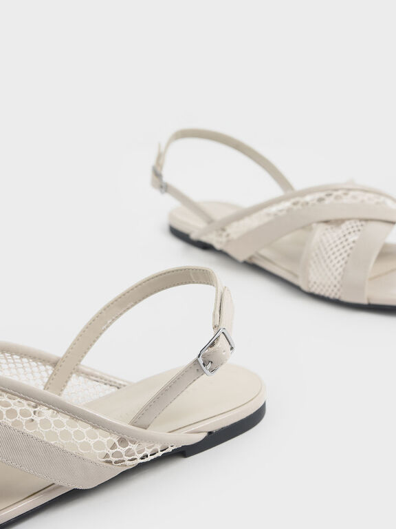 Criss Cross Mesh Slingback Sandals, Cream, hi-res