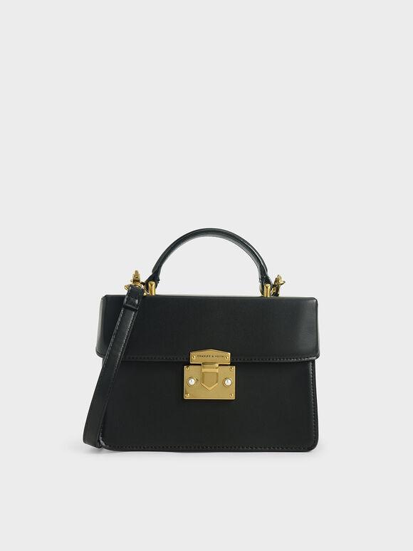 珍珠鑲嵌手提包, 黑色, hi-res