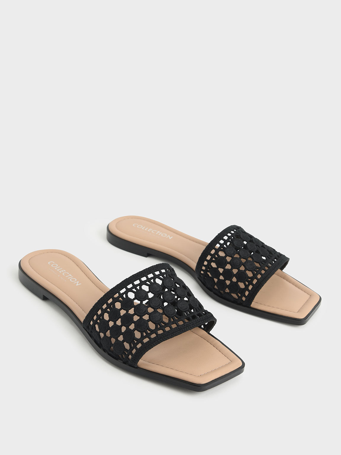 Asymmetric Toe Crochet Slides, Black, hi-res