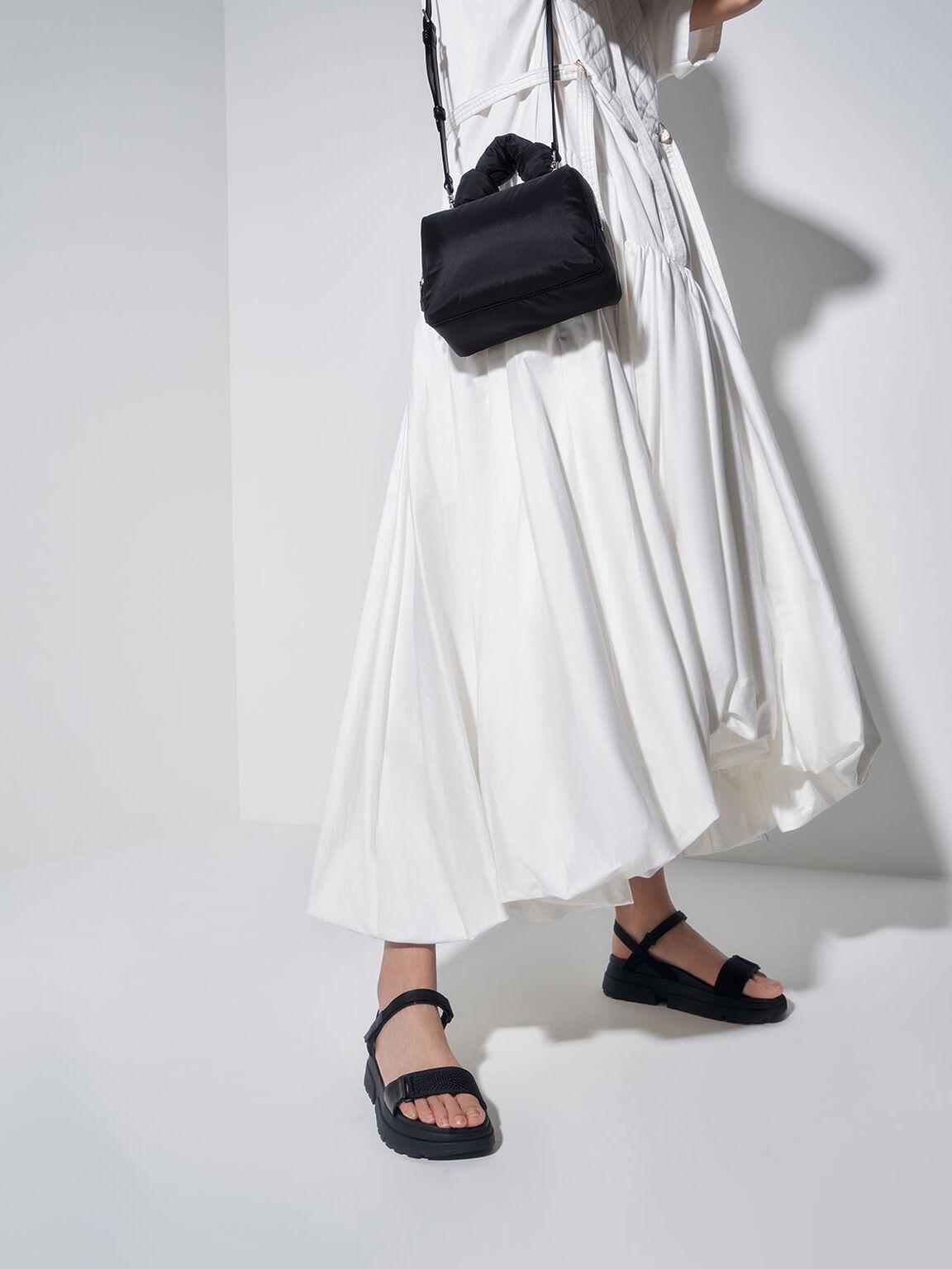 Knotted Boxy Bag, Black, hi-res