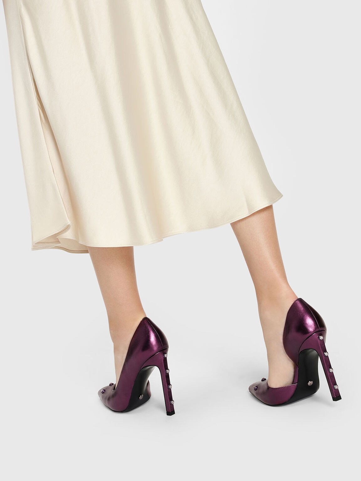 Gem Embellishment Leather Pumps, Purple, hi-res