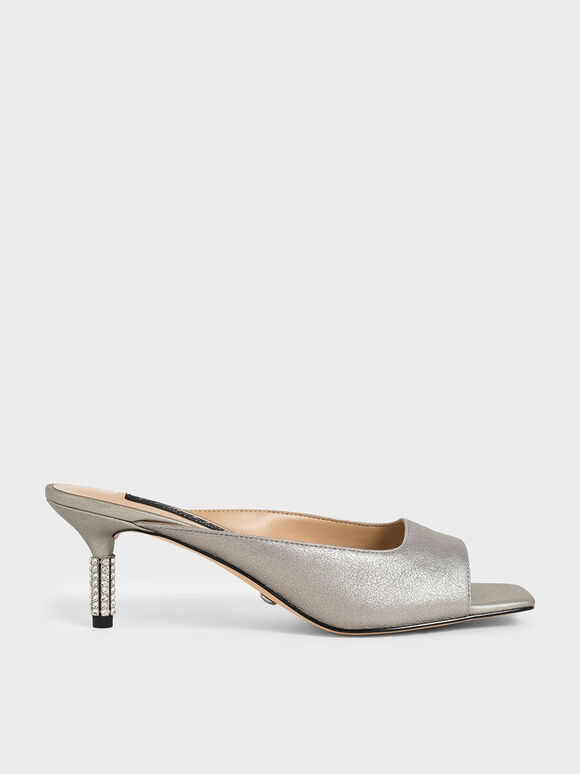 Metallic Leather Gem-Embellished Mules, Silver, hi-res