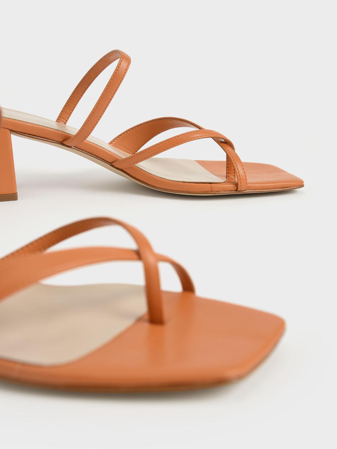 交叉帶夾腳涼鞋, 橘色, hi-res