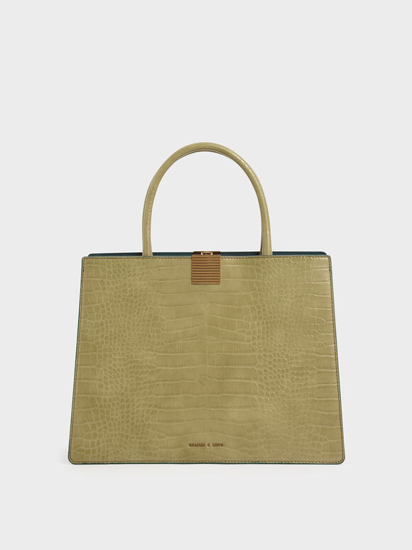 Croc-Effect Double Handle Handbag, Sand, hi-res