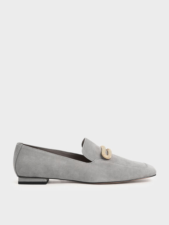 Metallic Accent Loafers ( Kid Suede), Sage Green, hi-res