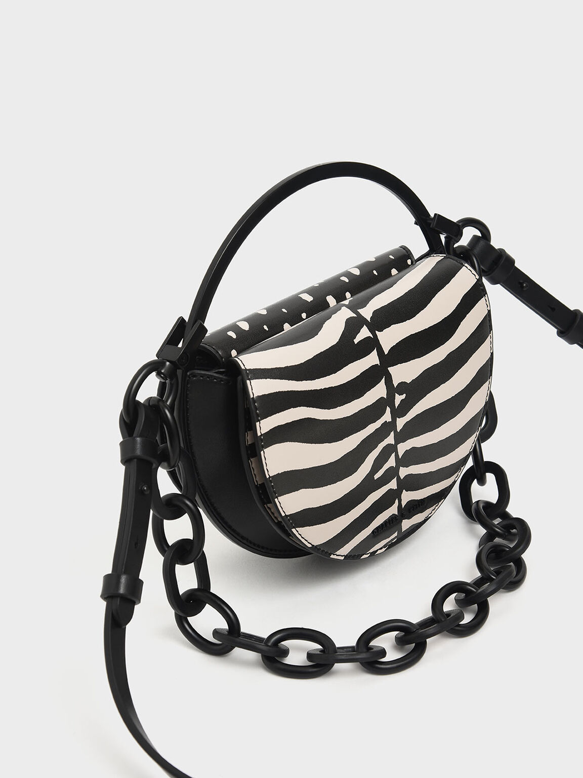 Zebra Print Circle Clutch, Multi, hi-res