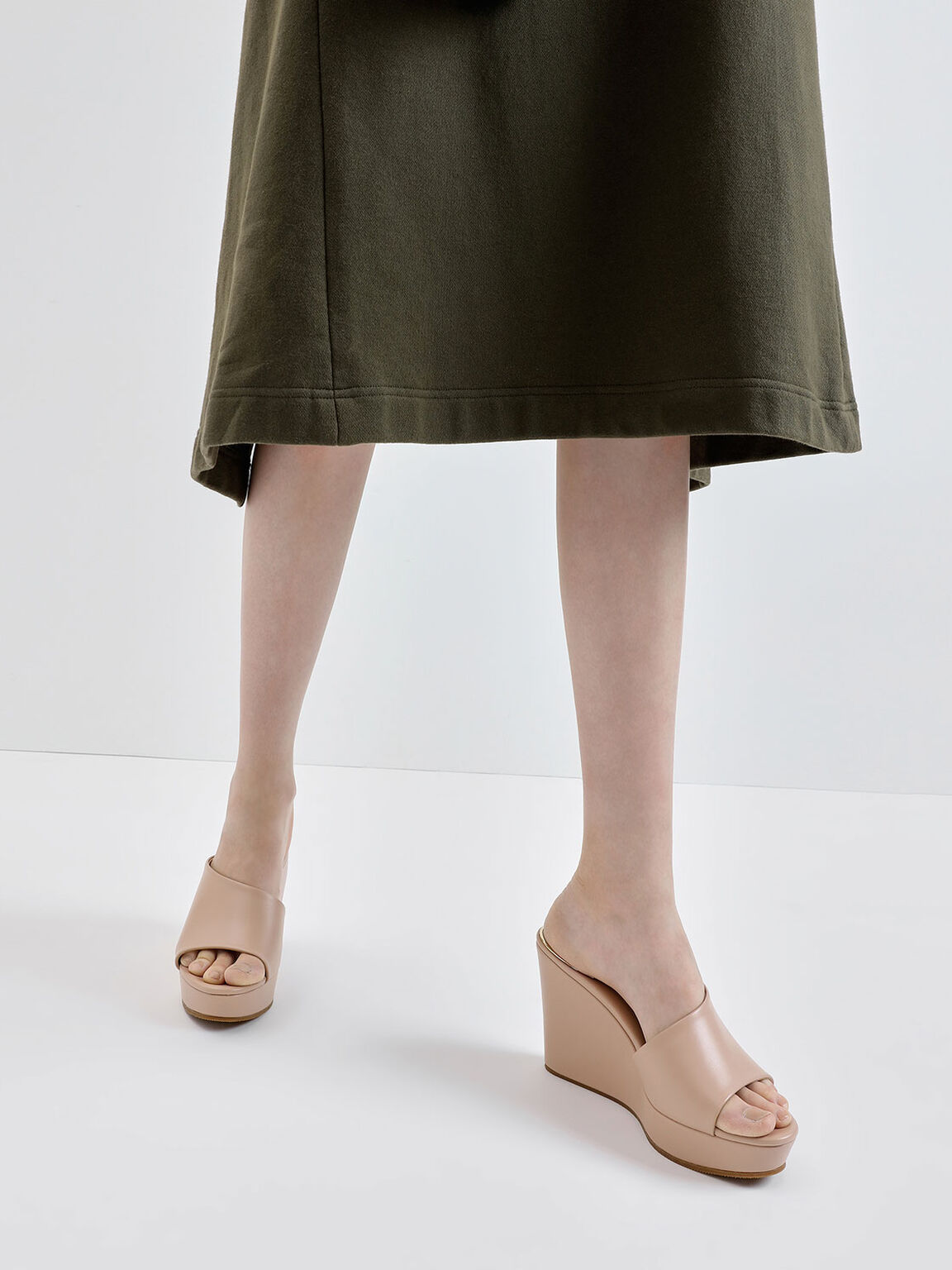 Asymmetric Platform Wedges, Nude, hi-res