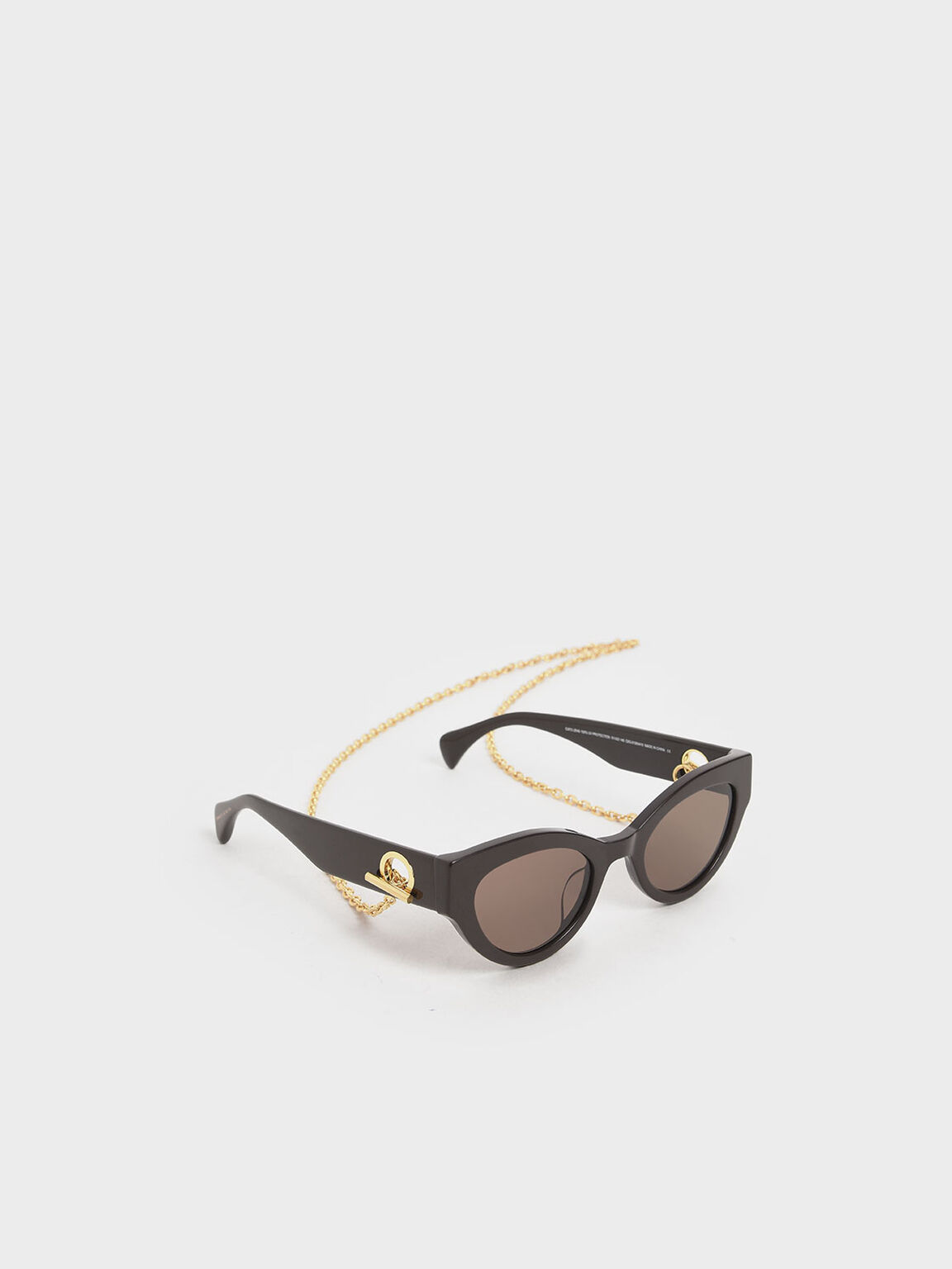 Chain Link Oval Sunglasses, Brown, hi-res