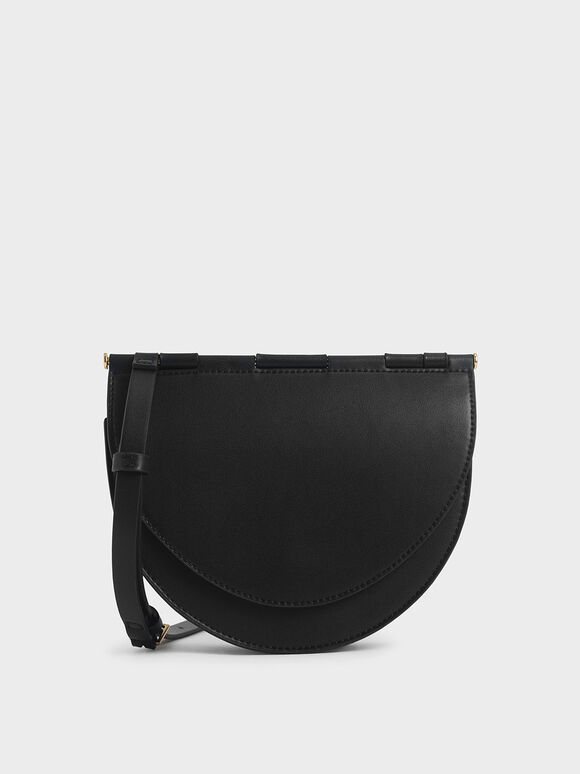 Semi-Circle Crossbody Bag, Black, hi-res