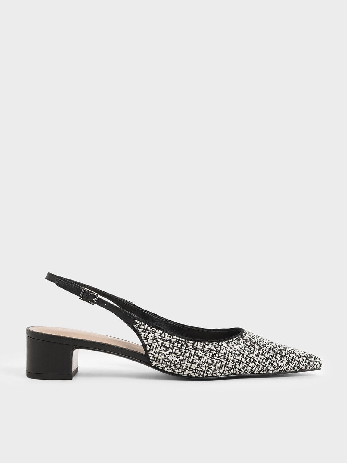 Tweed Pointed Toe Slingback Heels, Multi, hi-res