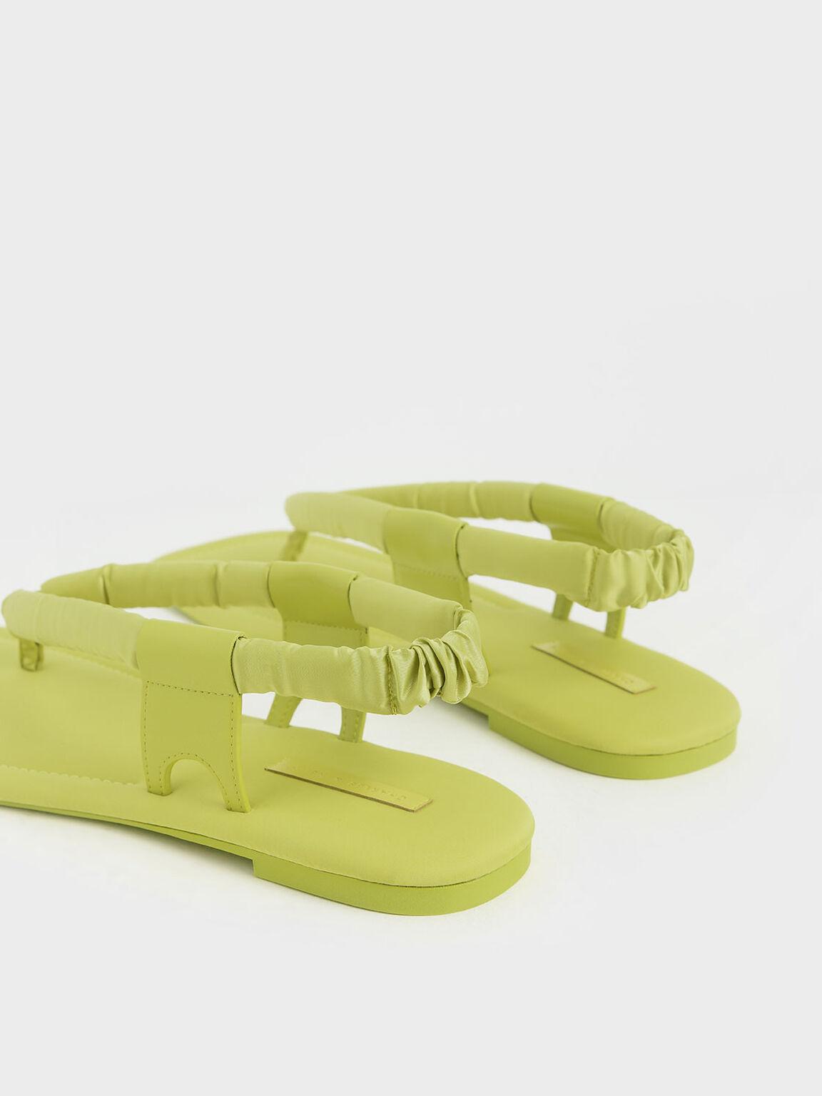Puffy Strap Thong Sandals, Green, hi-res