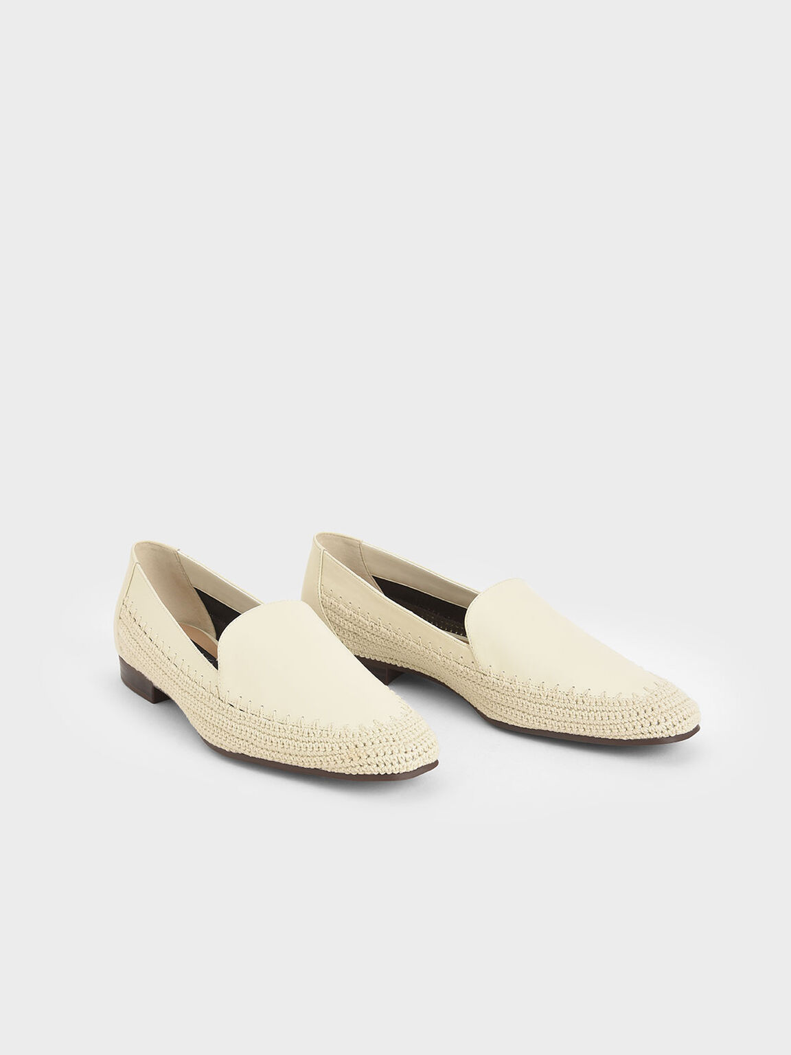 Leather Crochet Loafers, Chalk, hi-res