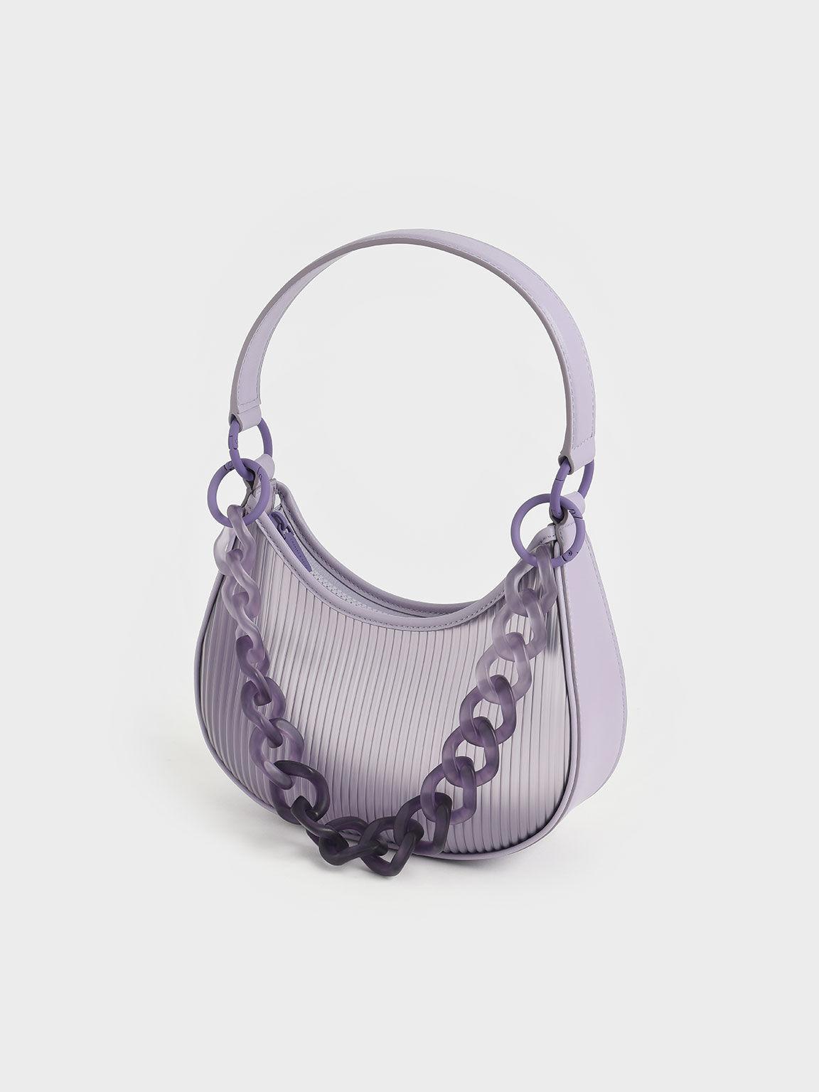 Acrylic Chain Handle Hobo Bag, Lilac, hi-res