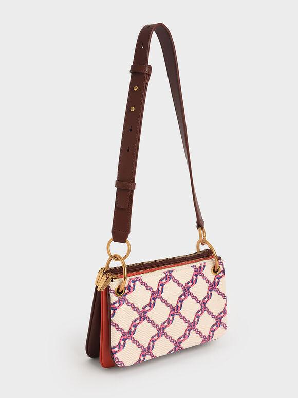 Printed Canvas Metallic Handle Crossbody Bag, Multi, hi-res