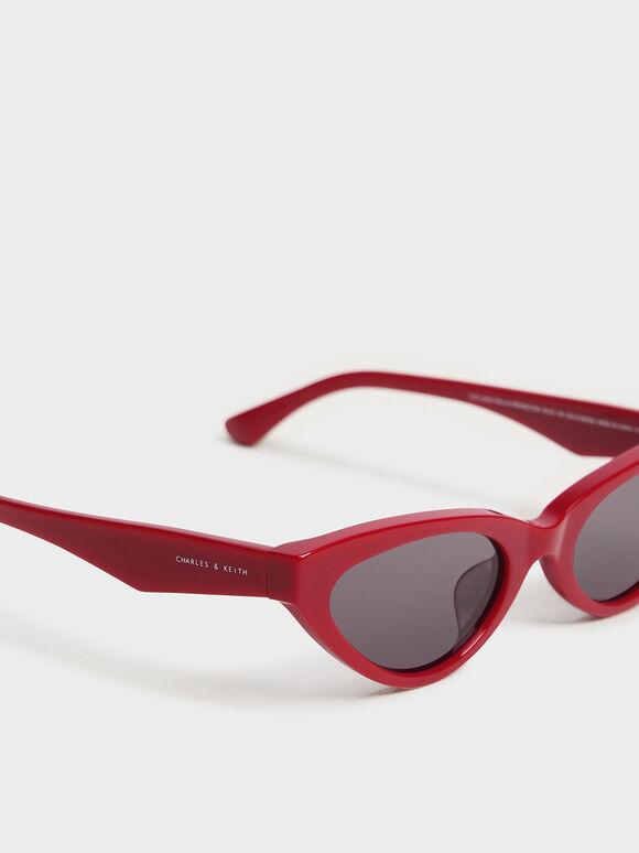 Acetate Oval Frame Sunglasses, Red, hi-res