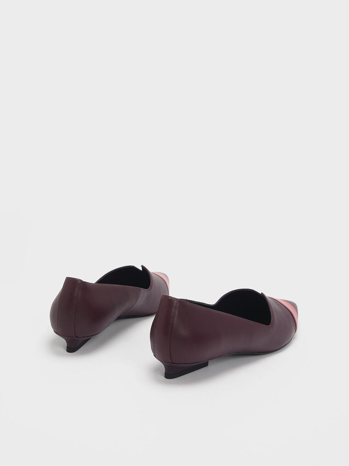 Striped Leather Ballerina Flats, Prune, hi-res