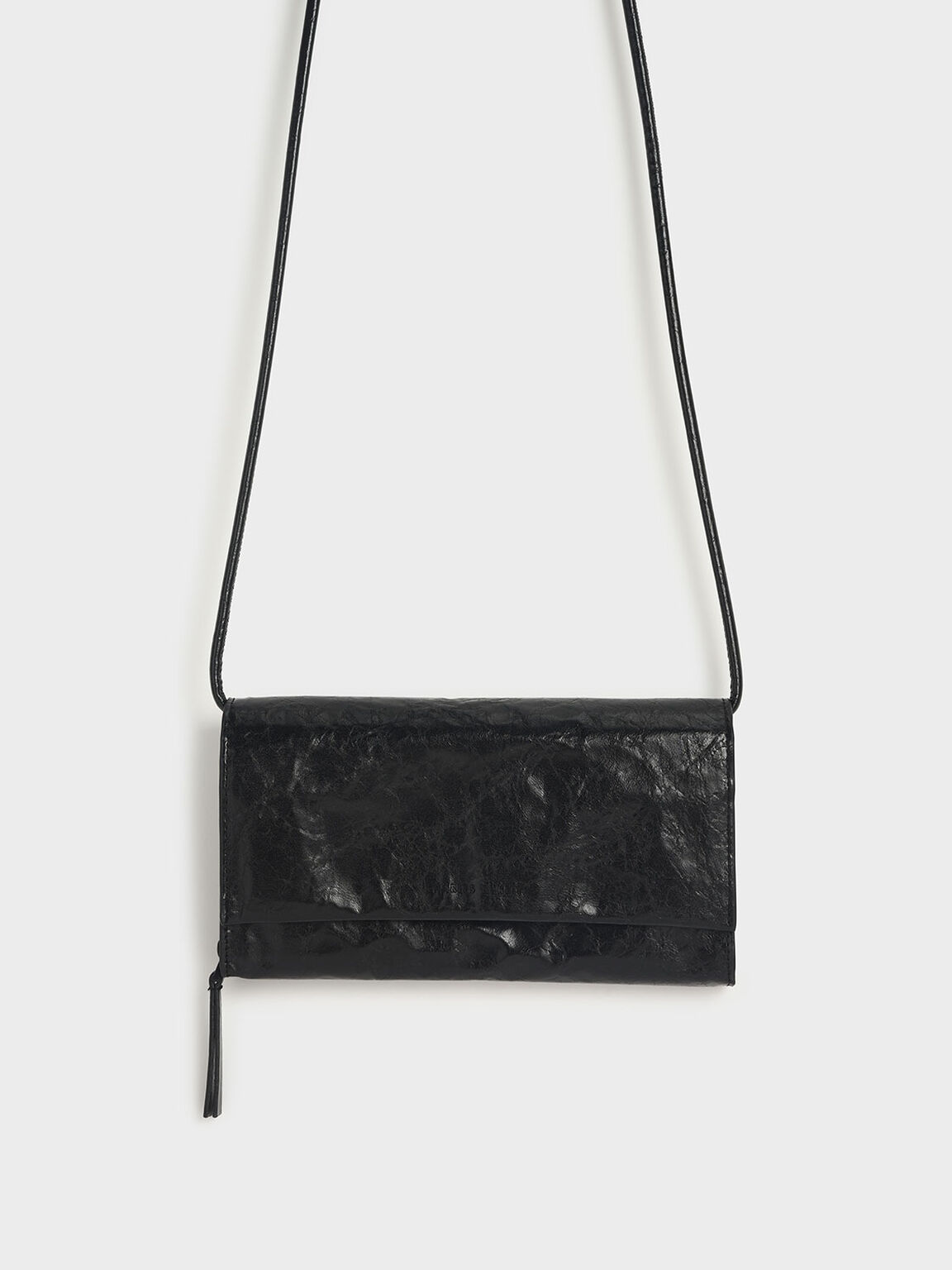 Crumpled-Effect Front Flap Long Wallet, Black, hi-res