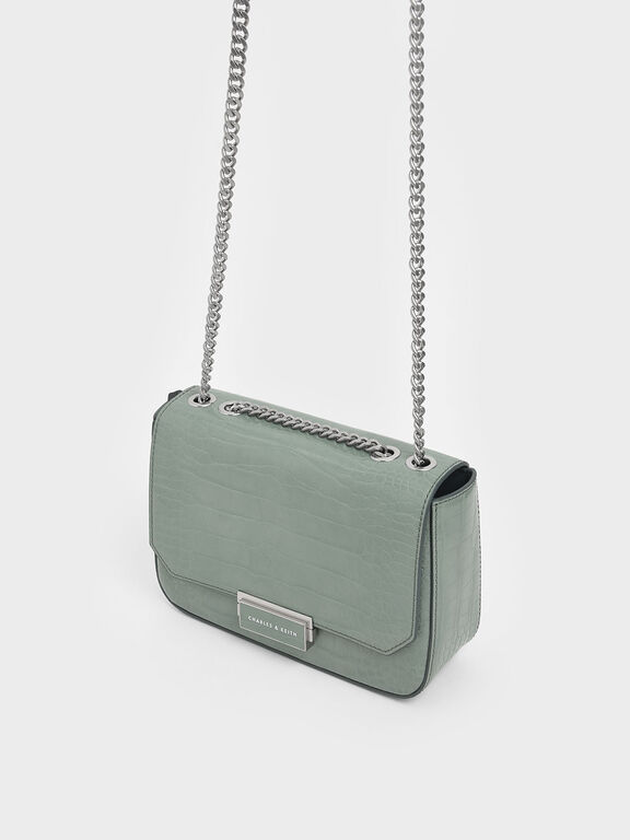 Croc-Effect Structured Crossbody Bag, Sage Green