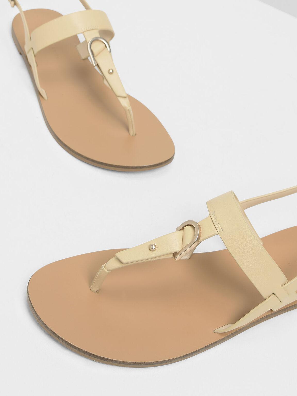 Slingback Thong Sandals, Beige, hi-res