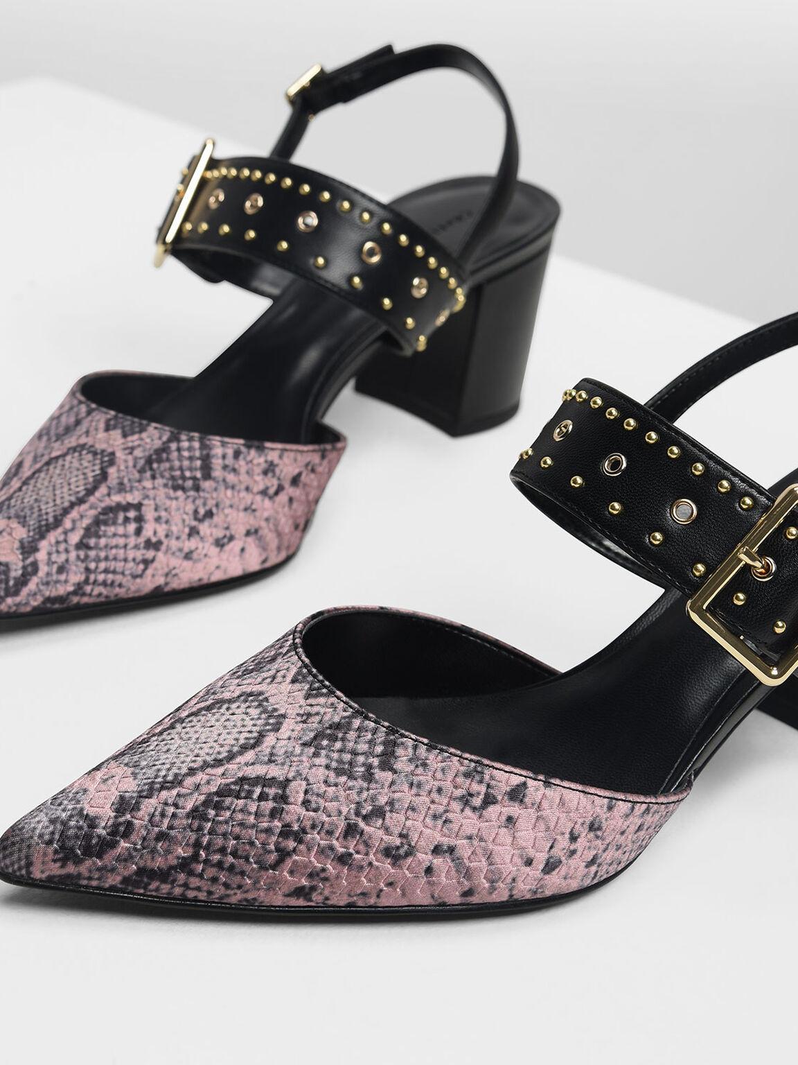 蛇紋鉚釘尖頭鞋, 淺粉色, hi-res