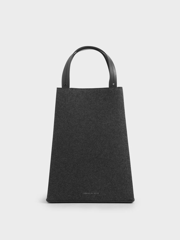 Elongated Felt Top Handle Bag, Dark Grey, hi-res