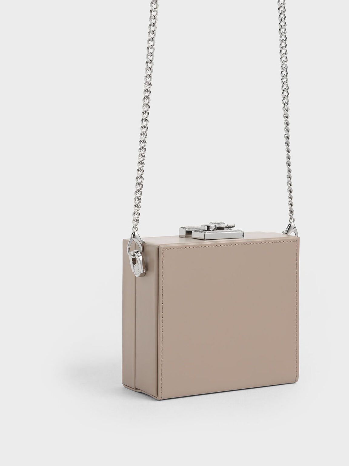 Boxed Leather Mini Square Pouch, Taupe, hi-res